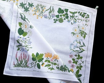 Vintage cotton print tablecloth with flowers