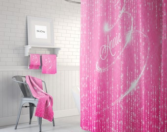 Personalized Pink Lights Shower Curtain ,Bath Mat, Towels