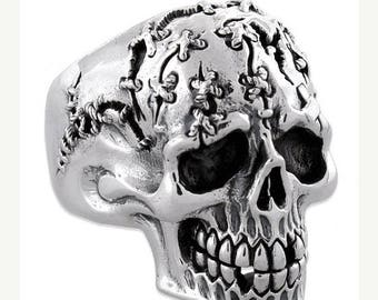 Summer CLEARANCE Sterling Silver 925 Biker Wounded Skull Ring Made in USA