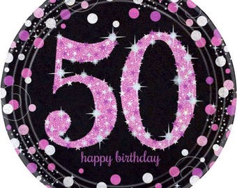 8 Ct Sturdy 9 Inch disposable Sparkling Pink & Black 50th Birthday Party Paper Plates - Dinner - Luncheon Size Plates