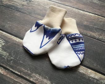 Organic Baby Mittens - Blue Mountains - gender neutral baby clothes, organic accessories, baby scratch mittens, woodland baby clothes