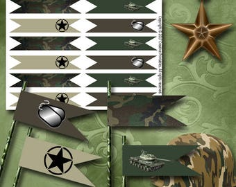 Army Straw Flags Printable Straw Flags Instant Download