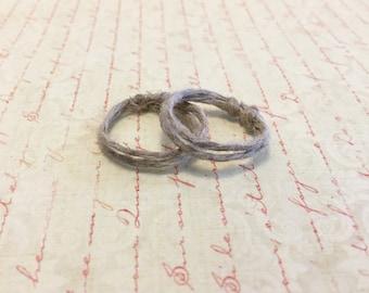 Inspirational Set of 2 Natural Hemp Ring Band. Adjustable. Men's Ring. Women's Ring. Hippie Style. Minimalist. Love Token.