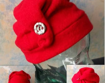 plain red boiled wool hat