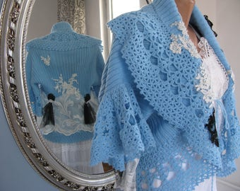 Art to wear cardigan/blue jumper/OOAK/Recycled clothing