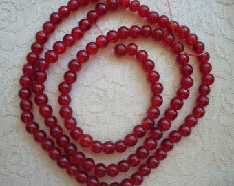 "70 Red Crackle Glass Rounds 8mm 20"" Strand! or~ Pick 3/4 Strand 50pc Siam Red Sparkeling Smooth Dyed Glass Beads  ~USPS Ship Rates /OR"