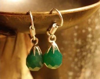 Holiday SALE 85 % OFF Green Onyx Earrings Gemstone  .925 Sterling  Silver