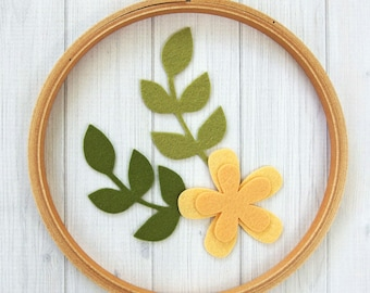 Felt Garden Flower with Long Stem Leaves, 10 pieces - Felt Florals, Felt Die Cuts, Felt Applique, Felt Cutouts