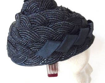 40% OFF Vintage 1960's Black Pillbox Hat* MARCHE EXCLUSIVE . Unusual Woven & Braided Design . Elegant . Classic . Evening . Dressy . Designe
