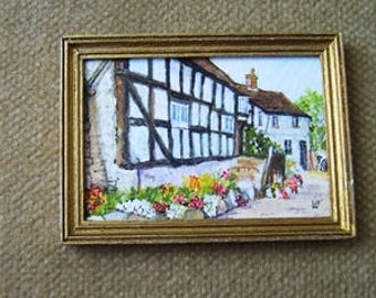 Original dollhouse painting. Miniature watercolour. 1/12 scale. MUCH WENLOCK. Artist Pauline Whiteley. Dolls house art. Miniature art.