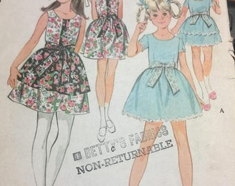 ON SALE Vintage 1960's Child's Dress, McCall's 9796 Sewing Pattern, Tiered Dress, Button Front Dress, Over Skirt, Back To School, Tie at Wai