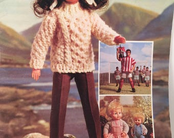 Fashion Doll Clothes, Knitting Patterns, Sirdar, Playmates, Knitted Doll Sweater, Knit Doll Hat, Knit Doll Dress,Knit Doll Coat,Doll Clothes