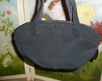Vintage Genuine Black Corde Handbag / Purse 1950's