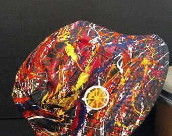The Stone Roses Elephant Stone sleeve Inspired hand painted abstract bucket hat created in Manchester