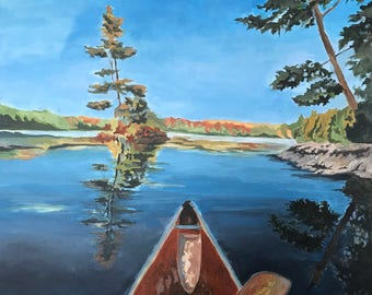 Original Painting, Art, Wall Art, Canoe Painting