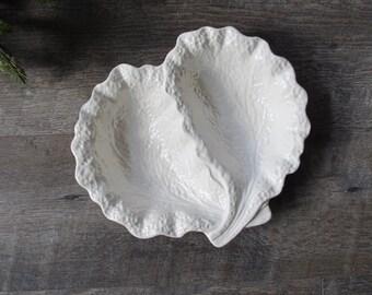 Vintage Shorter & Son Leaf Bowl, Shorter and Sons Gourmet Ware, white cabbage ware, english majolica, split bowl, all white majolica