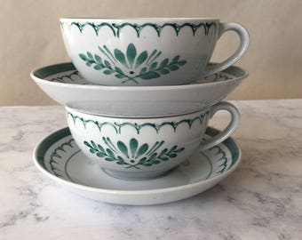 Vintage Green Thistle Cups and Saucers, Arabia of Finland | tea cup set, coffee cups, scandinavian design, green floral cups, earthenware
