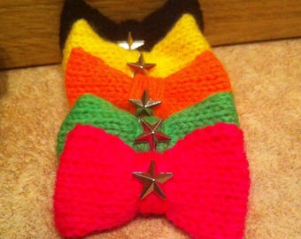 Knit jersey bow tie brooch