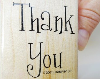 Thank You Rubber Stamp, Friendly Lettering Word Craft Shape Thank You Card Making Saying, Scrapbook Gratitude, Little Thank You Gift Decor