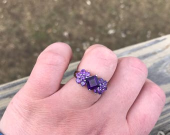 Natural Amethyst Engagement Ring Cluster Anniversary Birthstone February Birthstone Ring Sterling Silver