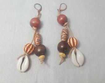 Wood Bead Earrings, Dangle Earrings, Cowrie Shell Earrings, Afrocentric Jewelry, Afro Earrings