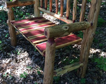 4 Foot Rustic Log  Patio Bench - Rustic Porch Bench - Cedar Bench - Fire Pit Bench - Rustic Patio Furniture - Wedding Gift