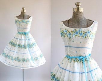 Vintage 1950s Dress / 50s Cotton Dress / Turquoise and Blue Floral Border Print Dress XS