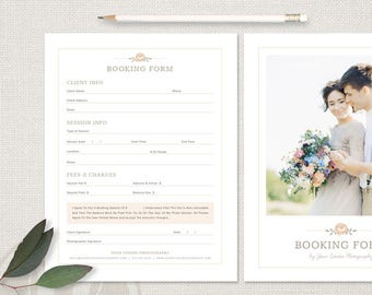 Client Booking Form for Photographers - Photography Forms, INSTANT DOWNLOAD, Photoshop Template, Photography Booking Form Template