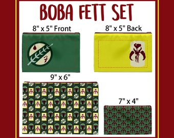 Set of Three Boba Fett Cosmetic Bags - Only Available Through June 23rd, Pencil Bag, Pencil Case, Bag Organizer, Planner Holder, Star Wars