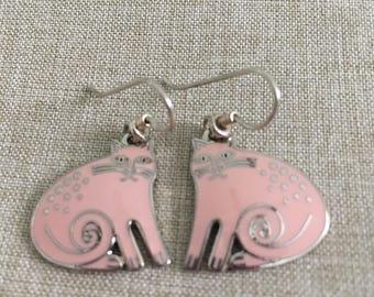 Vintage Laurel Burch Pink and Silver Kershire Cat Dangle Earrings