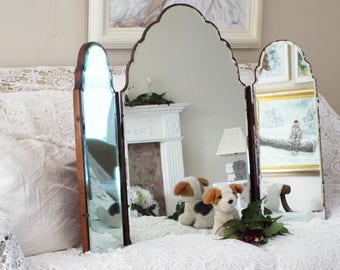 Antique Dressing Table Mirror Vintage Triple Section Dresser Mirror  Frameless Mirrors Bevel Edge Tri Fold