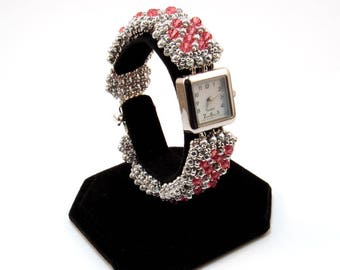 Crystal Beaded Bracelet Watch, Rose and Silver Beaded Watch, Pillow Talk Design by Amy Katz, Swarovski Crystal Bracelet Watch, Square Watch