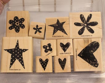 Stampin Up Love it (Set 2) set of stamps for Scrapbooking or Card Making Flower stamps hearts Dots Stars