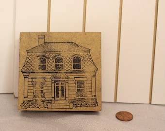 Vintage Cute Two Story House rubber Stamp Wood Stamp for Scrapbooking or Card Making Altered Art Home