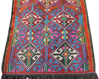 Bright Nomadic Tribal Wall Hanging Handwoven vintage Turkish Kilim (95*110cm) hand spun wool