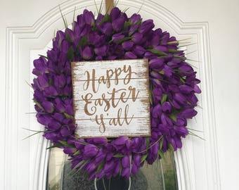 Tulip Wreath,Spring Wreath, Front Door Decor Tulip Door Hanger, Spring Decor, Easter Wreath Flower Wreath Wooden Sign Purple Wreath Easter