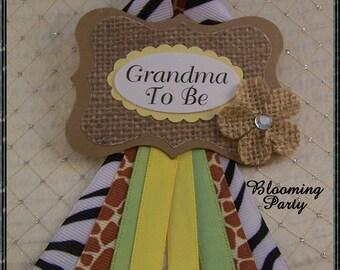 Safari Grandma To Be Corsage Jungle Safari Baby Shower Corsage Safari Guest Corsage