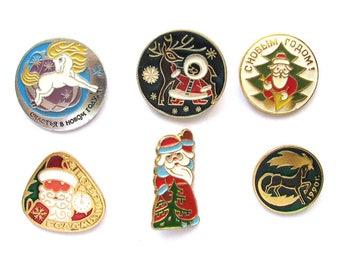 Happy New Year, Vintage Soviet badge, Pick from Set, Xmas tree, Santa Claus, Christmas tree, Winter, Soviet Vintage Pin, Made in USSR