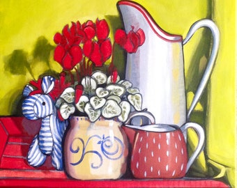 Still life with zebra and cyclamen