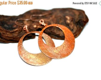 XMASINJULY Etched Copper Earrings, Copper Hoop Earrings, Copper Jewelry, Large Hoop earrings, Copper earrings, dangle earrings, statement ea