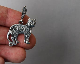 Cat necklace, Cat pendant, Cat jewelry, Celtic cat, Celtic necklace, Norse pendant, Nordic pendant, Celtic jewelry