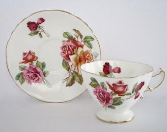 Hammersley England Bone China Morgans Rose Tea Cup and Saucer Set