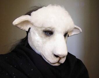 Sheep mask Masquerade mask Animal mask Paper mache sheep mask Scary mask