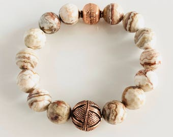 Genuine Mexican Agate and Copper Stretch Bracelet
