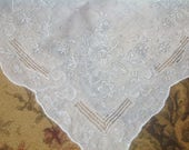 VINTAGE EMBROIDERED HANDKERCHIEF. Bridal Wedding Drawn Thread Work. Heavily embroidered. Madeira Ornate White Gray