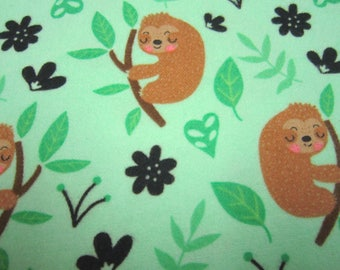 Sloths Cotton Flannel by Timeless Treasures Called Cute Sloths in Lime Green