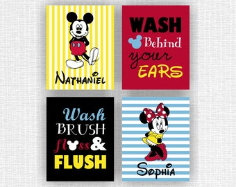 INSTANT DOWNLOAD Minnie Mouse and Name Disney bathroom, Mickey Mouse and Name Disney bathroom, Disney Quote Wall Art Set of 4, 8x10
