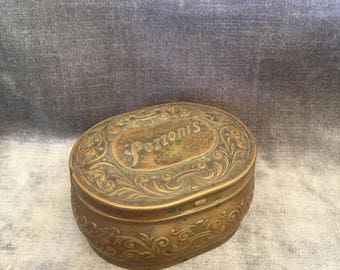 Vintage antique Pozzoni's complexion powder brass bronze copper tin box patented 1912