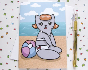 Cute Vacation Card, Any Occasion Card, Greeting Card, Pin up, Just Because Card, Thinking of You Note, Funny Cat, ocean, sea, beach