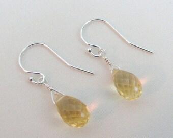 On Sale Citrine Briolette Earrings, Sterling Silver, Citrine Gemstone Jewelry, November Birthstone, Brazil Citrine, Bride Earrings, Wedding